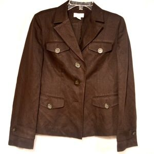 Ann Taylor Chocolate Brown Linen Jacket Size 4
